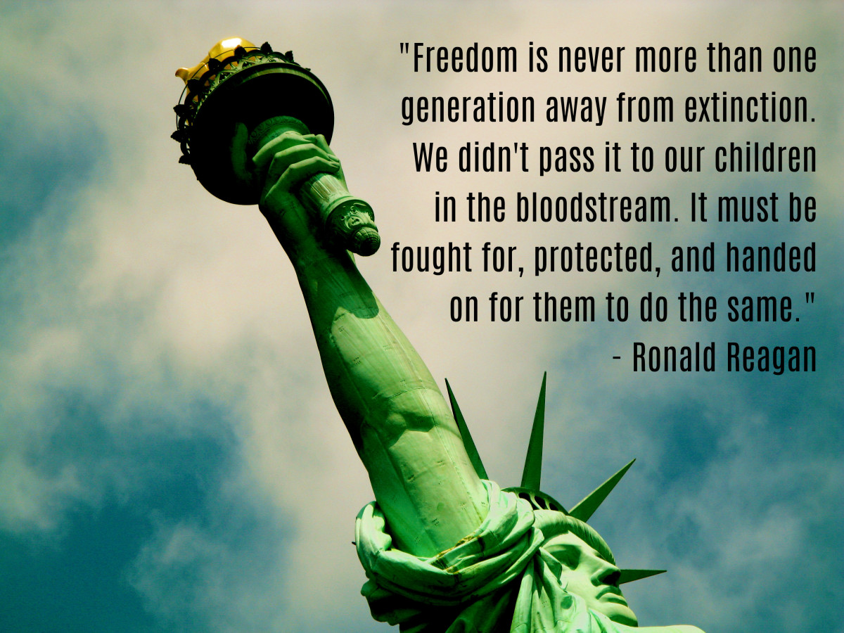 """Freedom is never more than one generation away from extinction. We didn't pass it to our children in the bloodstream. It must be fought for, protected, and handed on for them to do the same."" - Ronald Reagan, 40th U.S. President"