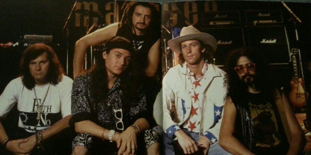 Faith No More, L-R: Billy Gould (bass), Mike Patton (vox), Mike Bordin (drums), Roddy Bottum (keys), Jim Martin (guitar)