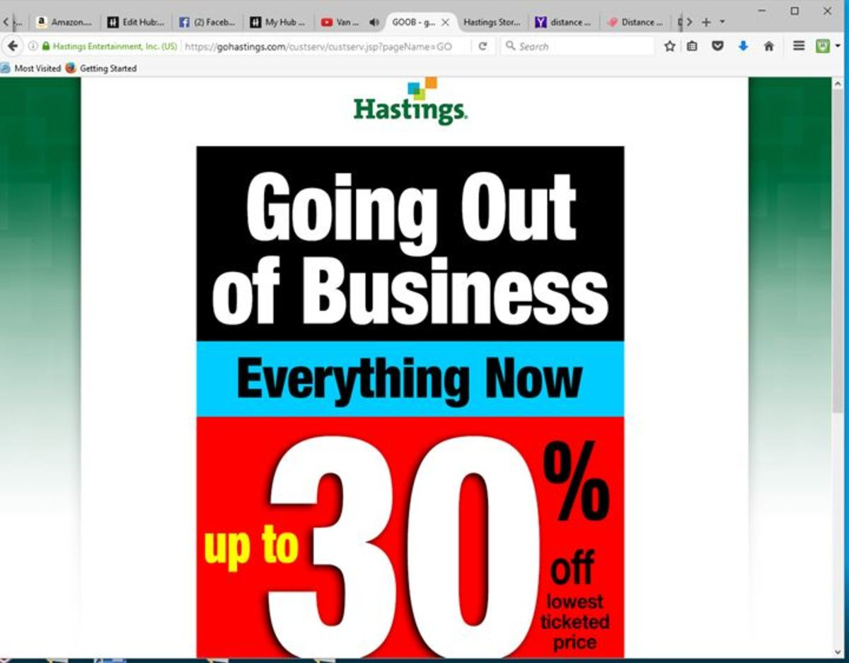 The front page of Hastings' web site told the sad story.