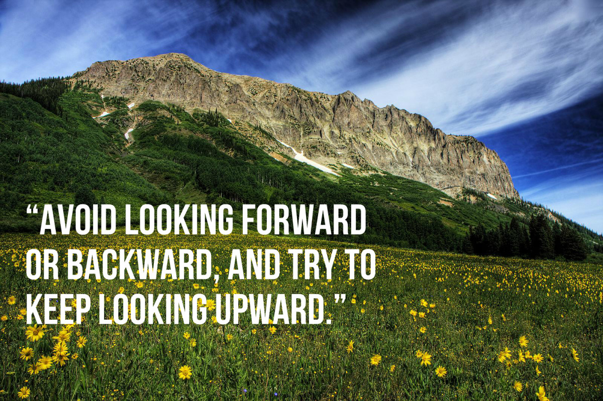 """ ... Avoid looking forward or backward, and try to keep looking upward."" - Charlotte Brontë, American writer"