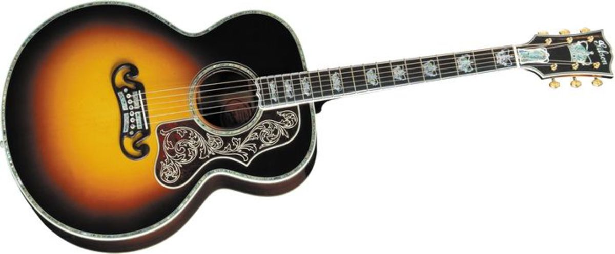 The Gibson J-250 Monarch and all its extravagant inlay work.