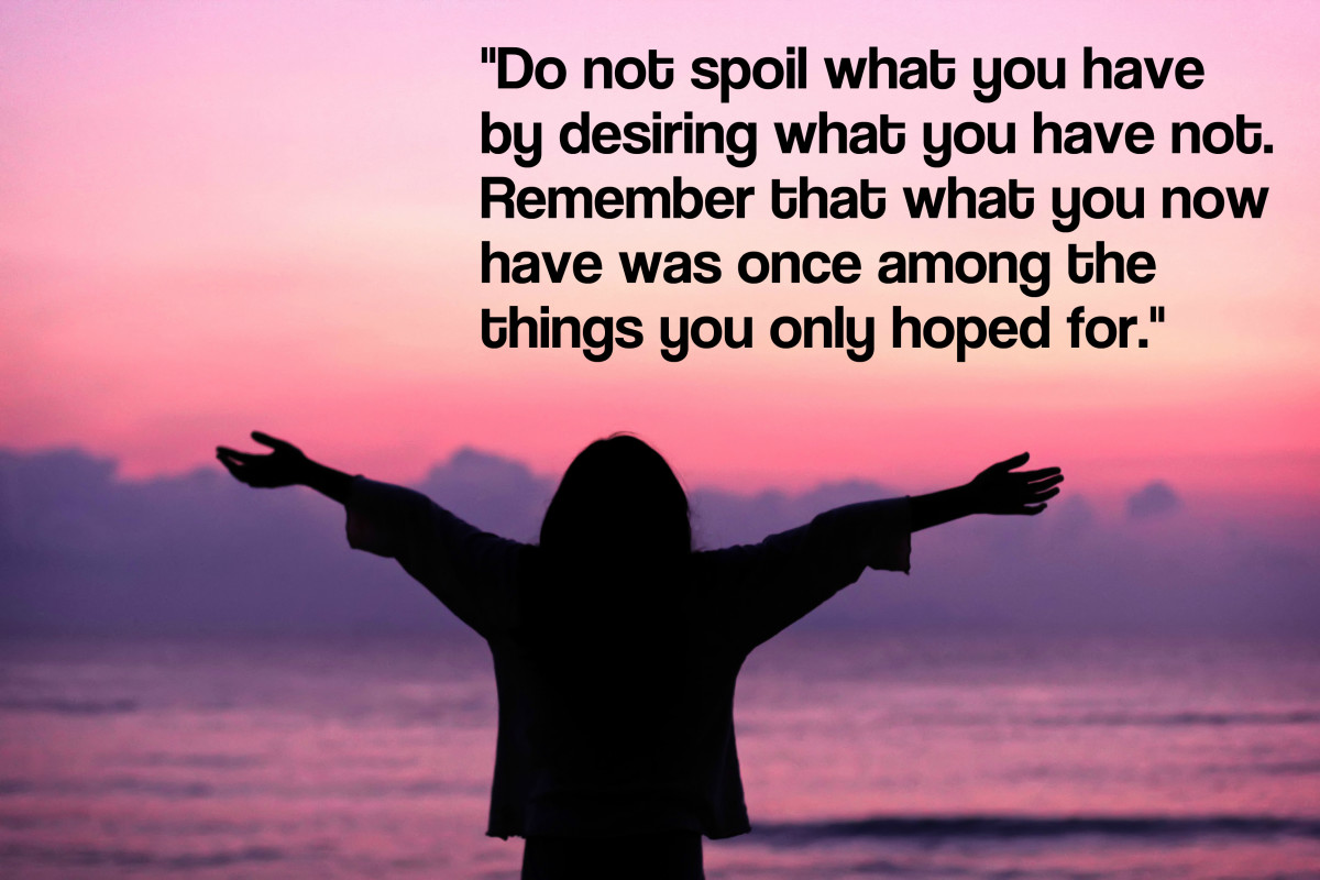 """Do not spoil what you have by desiring what you have not; remember that what you now have was once among the things you only hoped for."" - Epicurus, Greek philosopher"