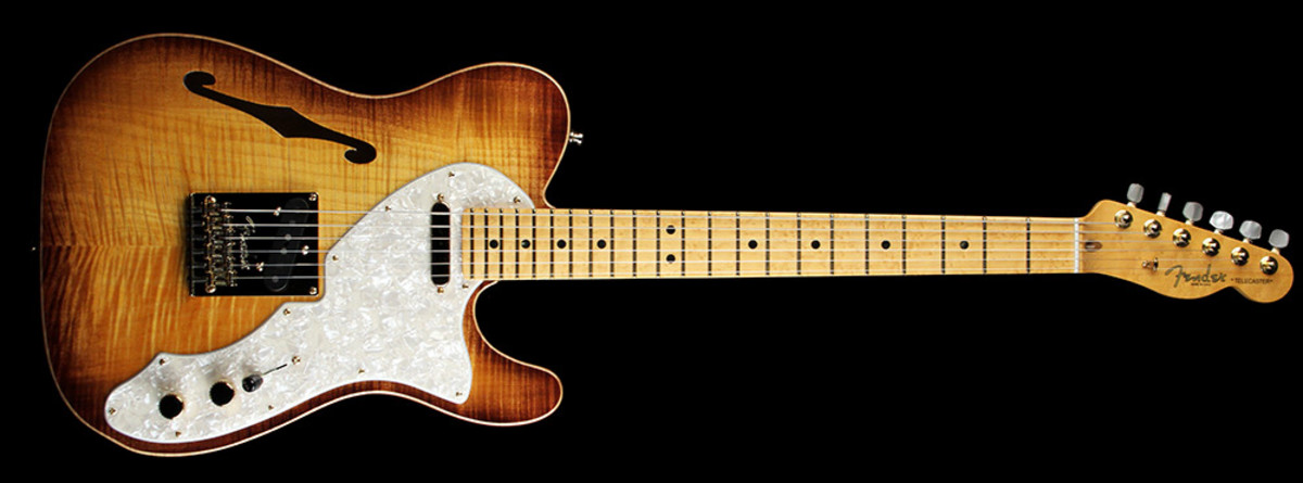 Fender Select Telecaster Thinline Electric Guitar Gold Hardware Violin Burst