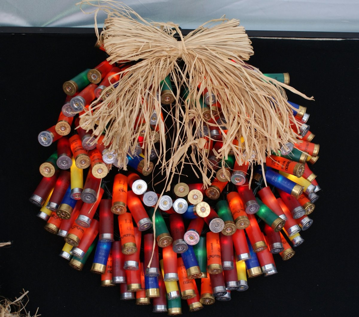 Celebrate a purty redneck Christmas with a shotgun shell wreath.