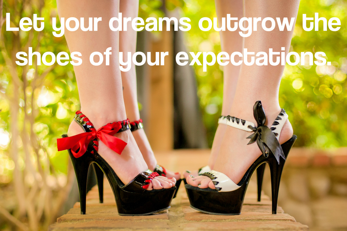 """Let your dreams outgrow the shoes of your expectations."" - Japanese writer"
