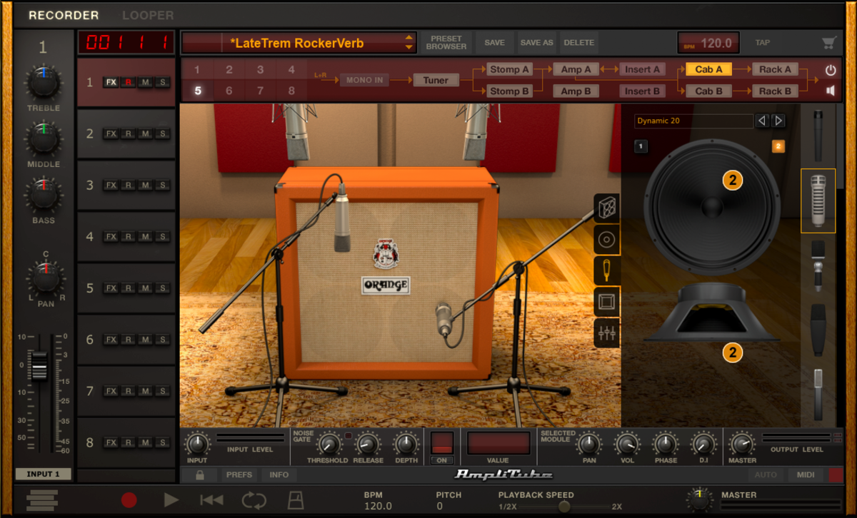 "IK Multimedia's Amplitube software can simulate everything from the amp, pedals and racks, right down to the microphones being used and the room in which it's been ""recorded""."