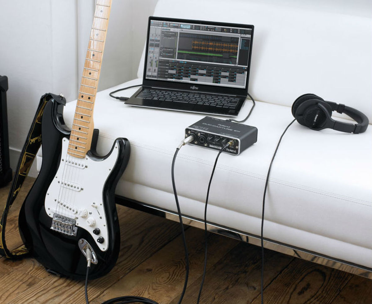 Capturing high quality guitar audio can not only be done inexpensively, it can also be portable.