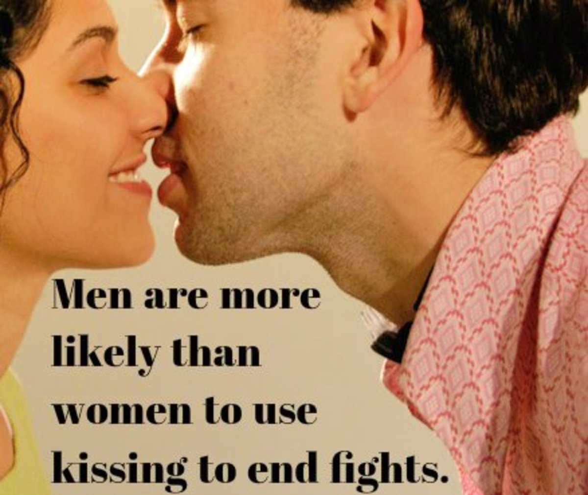 Men are more likely than women to use kissing to end fights.