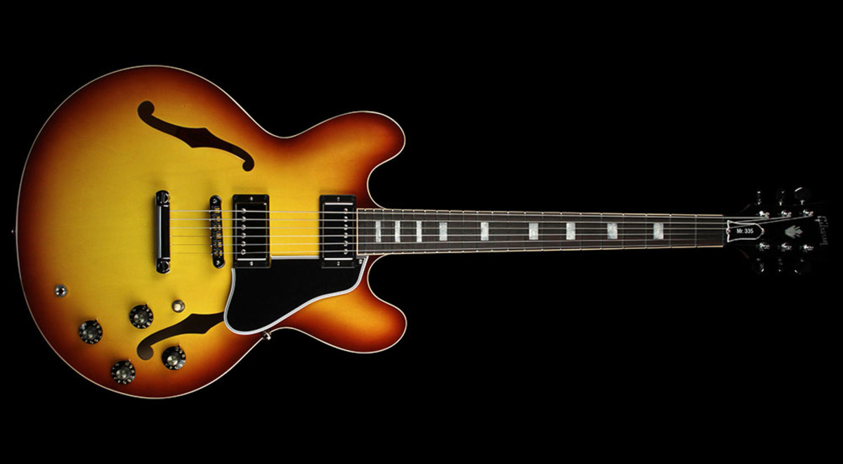 Gibson ES-335 Larry Carlton guitar. The vintage burst of this finish is also known as a Carlton burst.