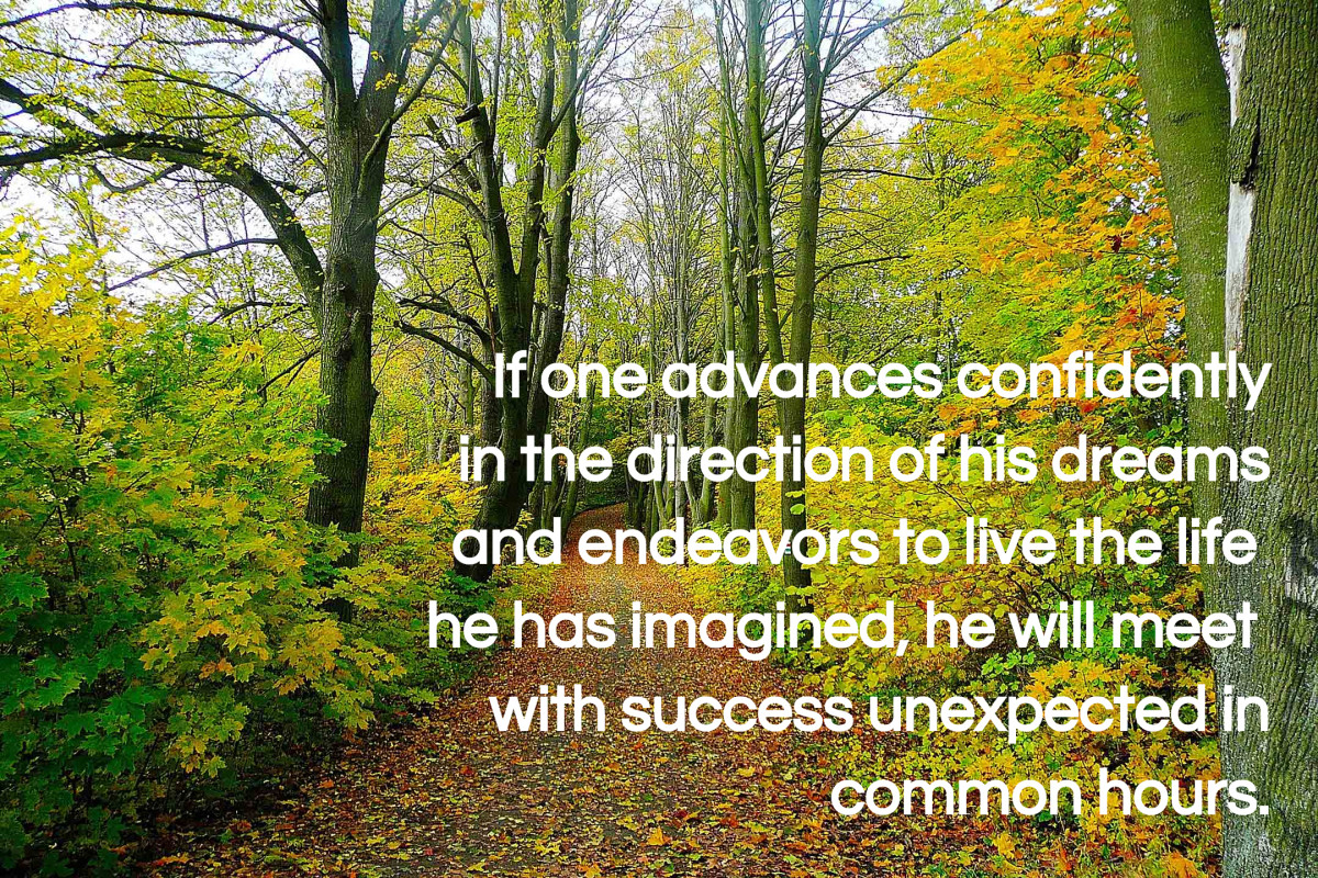 """""""If one advances confidently in the direction of his dreams and endeavors to live the life which he has imagined, he will meet with a success unexpected in common hours."""" - Henry David Thoreau, American writer"""