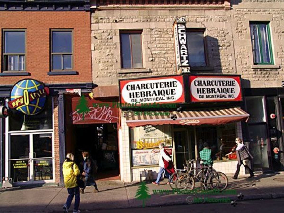 Schwartz's Deli Restaurant is a popular Montreal restaurant, located close to this home of Leonard Cohen.
