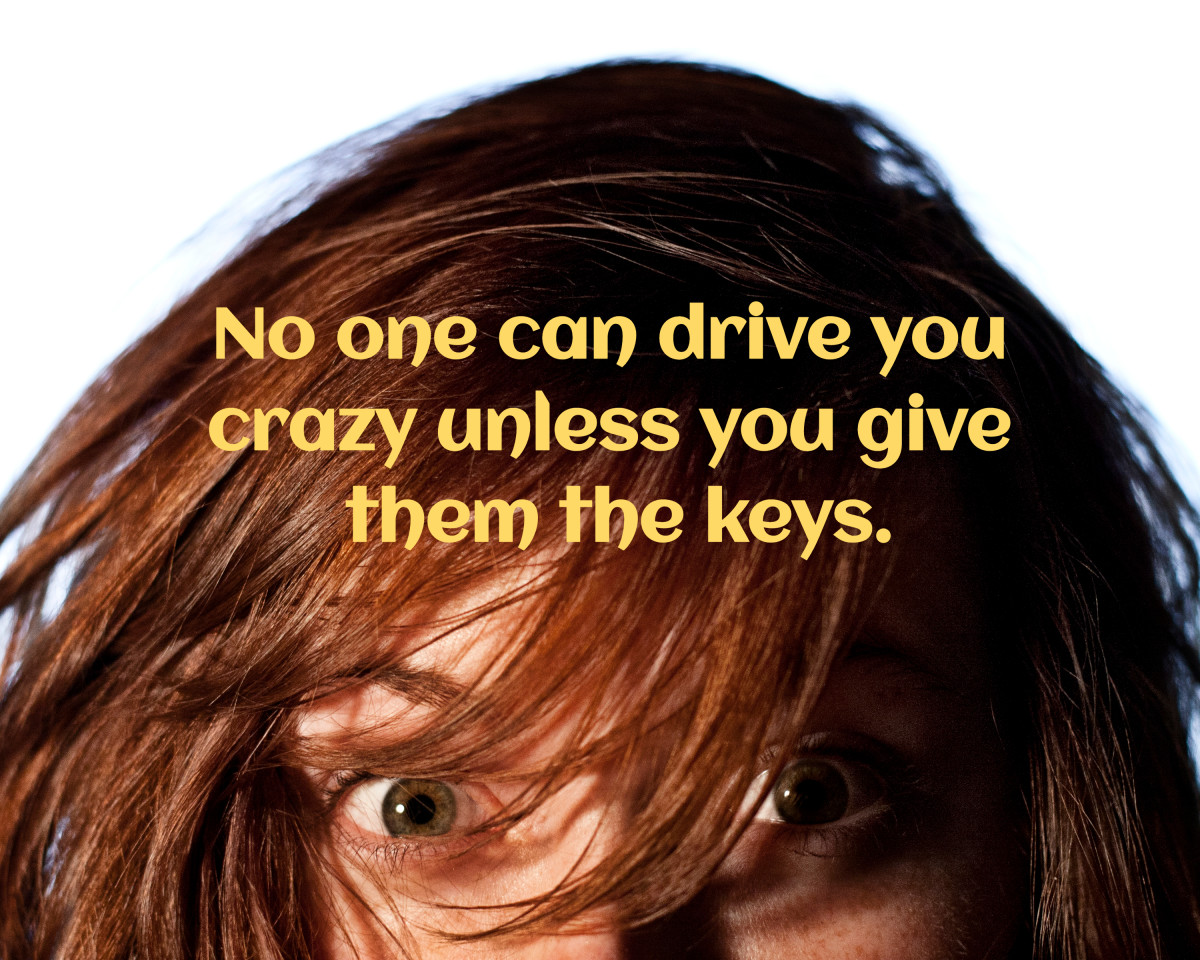 """No one can drive you crazy unless you give then the keys."""
