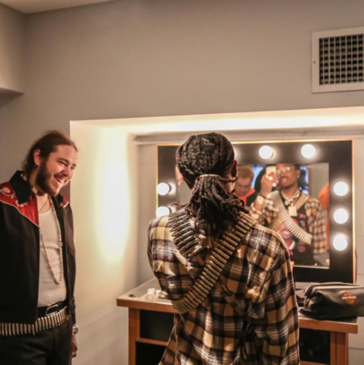 Left: Post Malone, Center: Quavo