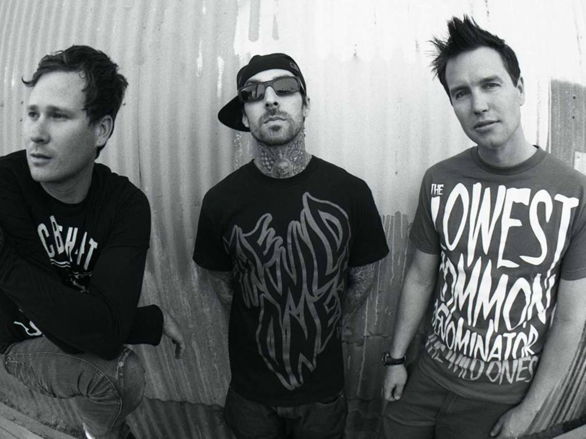 "Blink-182 members from left to right; Tom DeLonge, Travis Barker, and Mark Hoppus. All had creative input on the lyrics of ""I Miss You""."