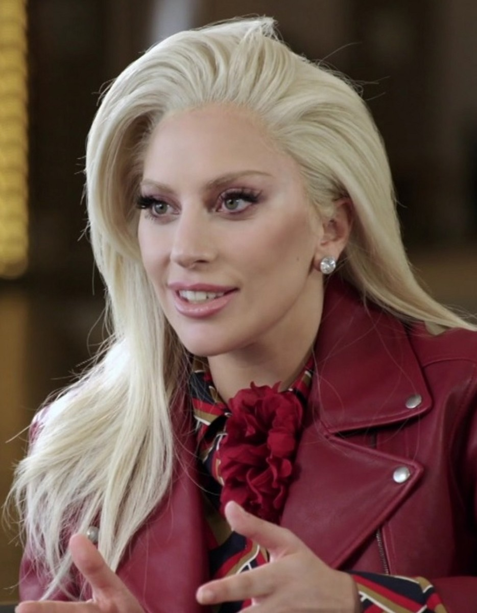 Singer Lady Gaga is seen here during an interview by NFL Network about her Super Bowl performance in 2016.