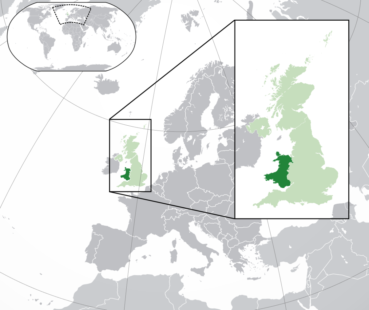 Location of Wales in the UK and Europe