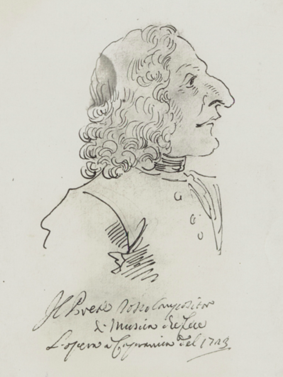 A caricature drawing of Antonio Vivaldi