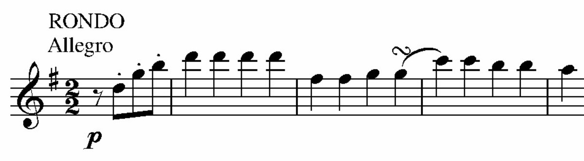 Main theme of the 4th movement from Mozart's Eine Kleine Nachtmusik