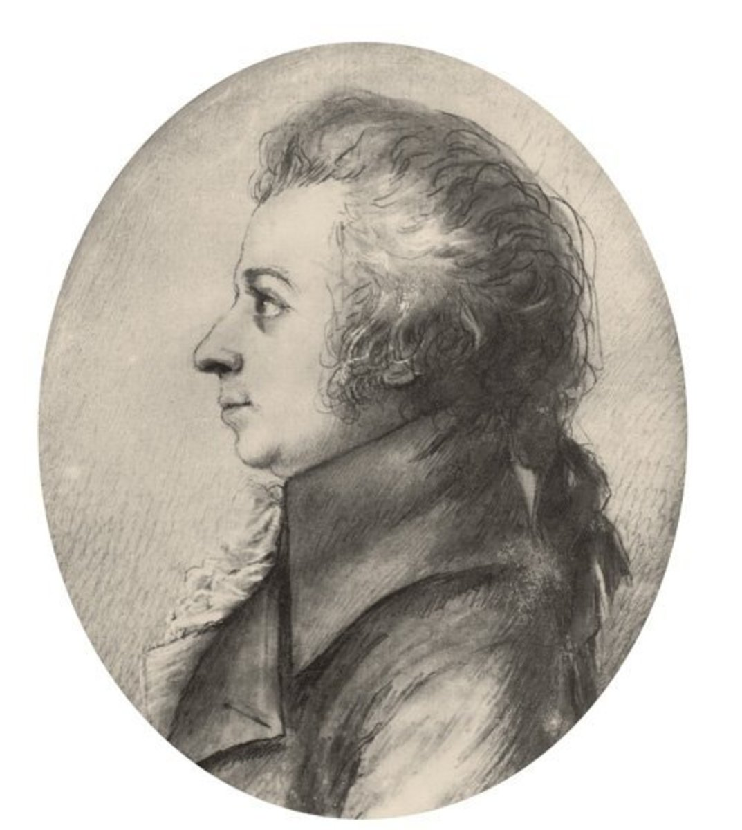 A drawing of Wolfgang Amadeus Mozart