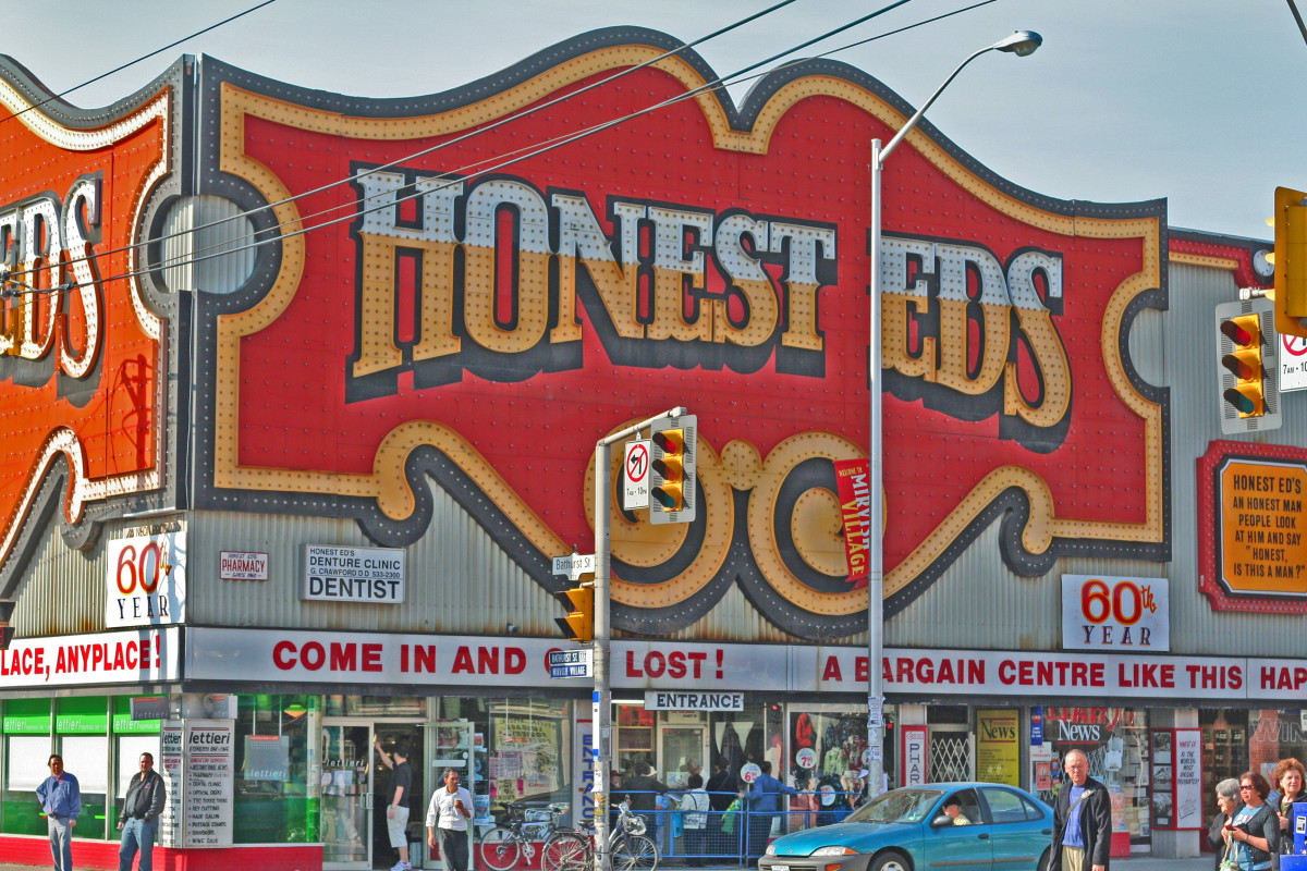 Honest Ed's.  Anyone who has to claim that they are honest usually isn't, however this guy was the real deal.  He was a proprietor in Toronto, and after more than six decades in business, his store closed in 2016.