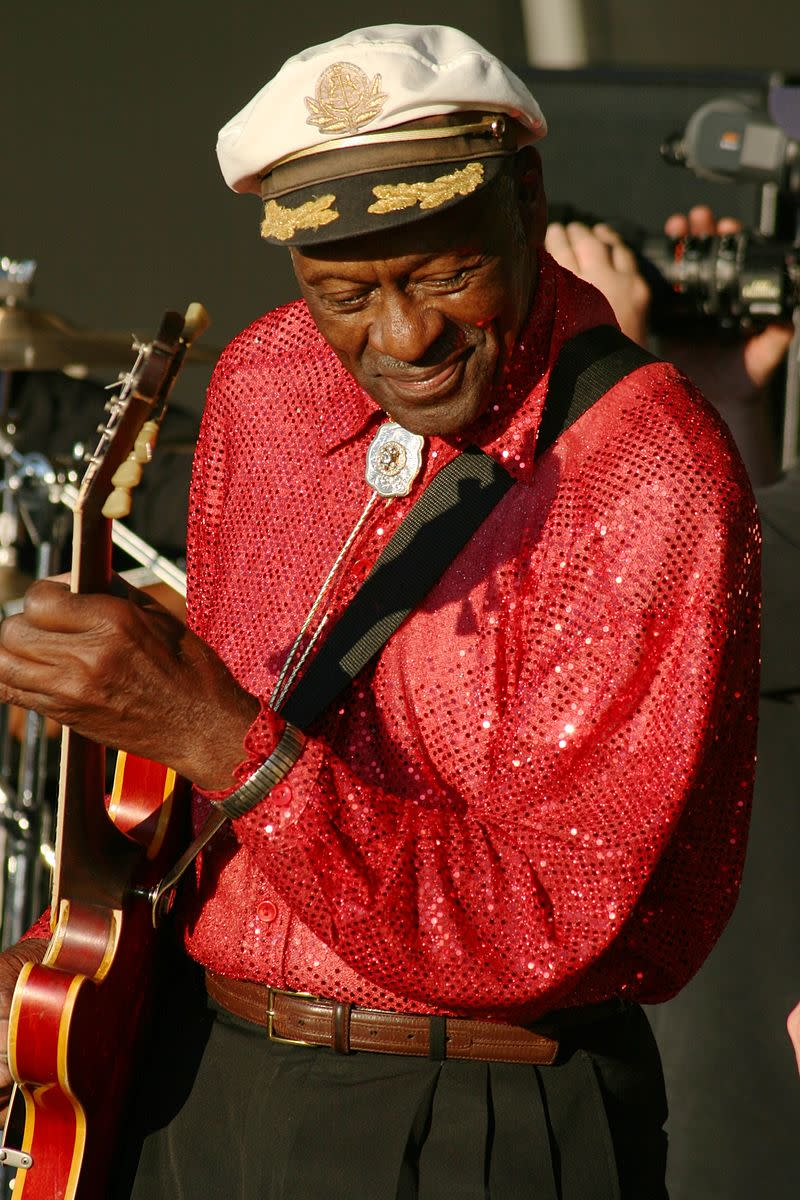 Chuck Berry in 2007. In his later years Chuck often performed accompanied by some of his family members.