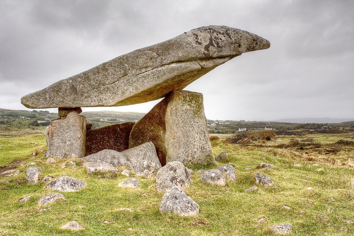 A dolmen near the town of Ardara in County Donegal, Ireland