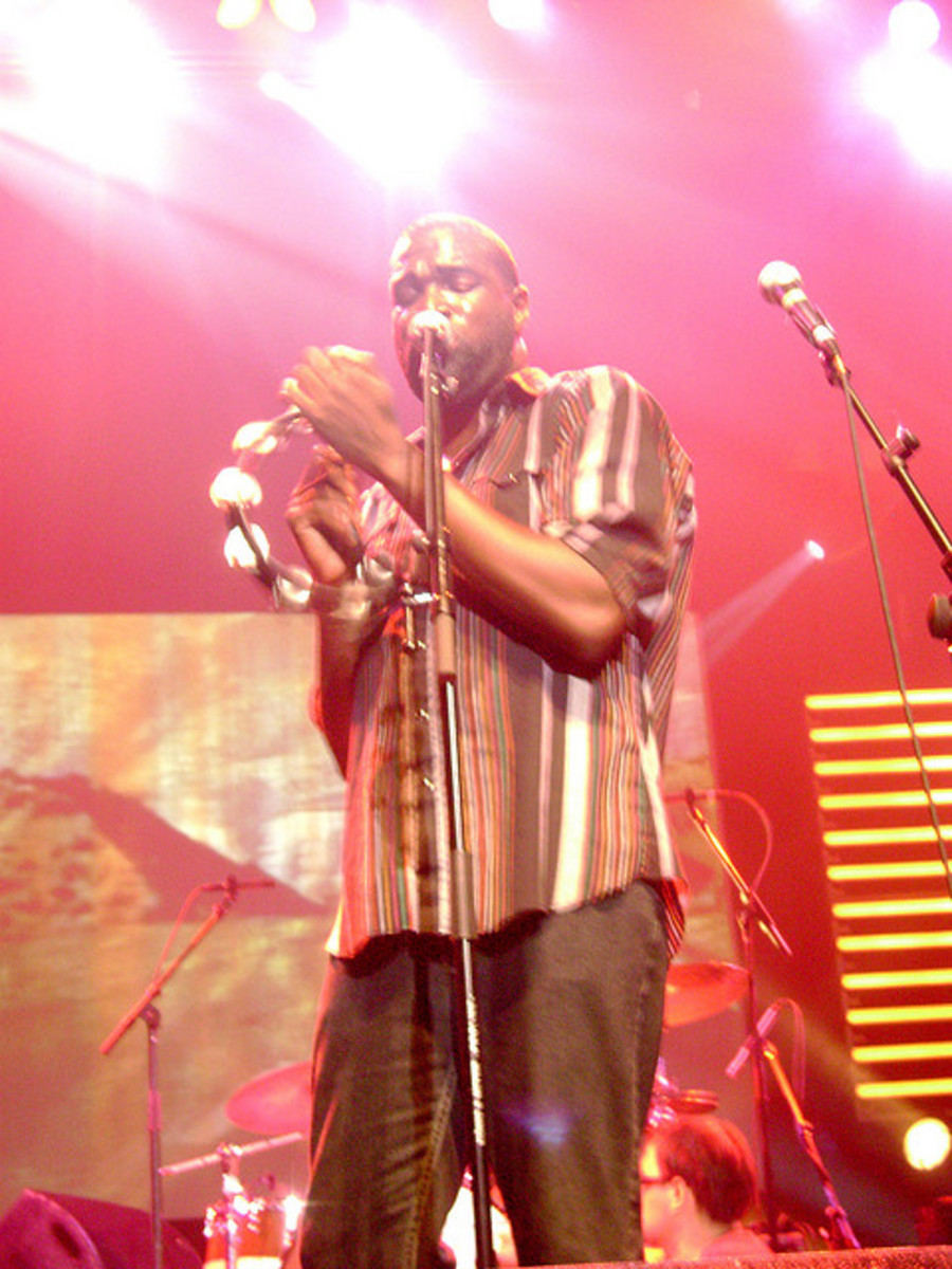 Tunde Adebimpe onstage with Tv On The Radio