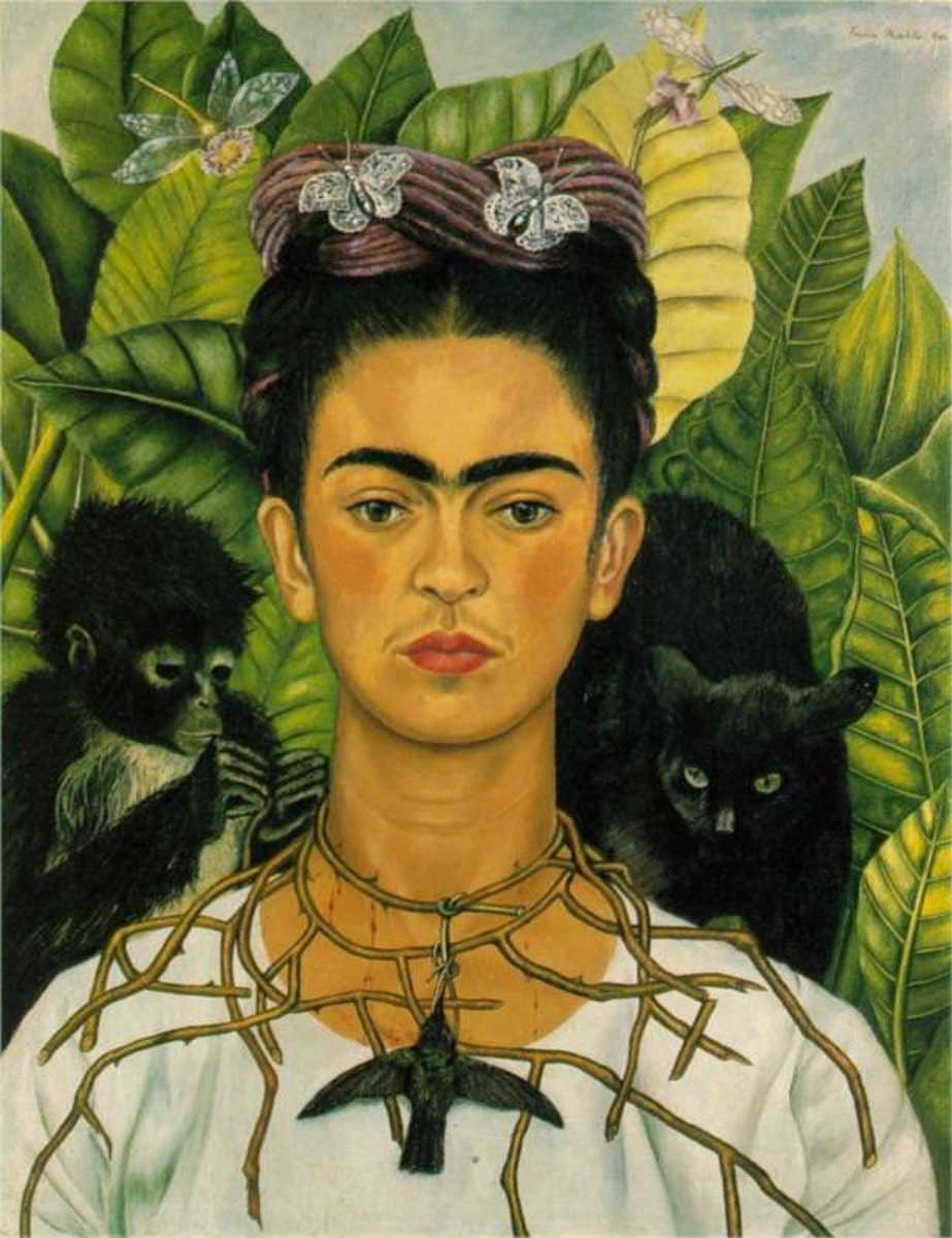 Self portrait with thorns and hummingbird, 1940