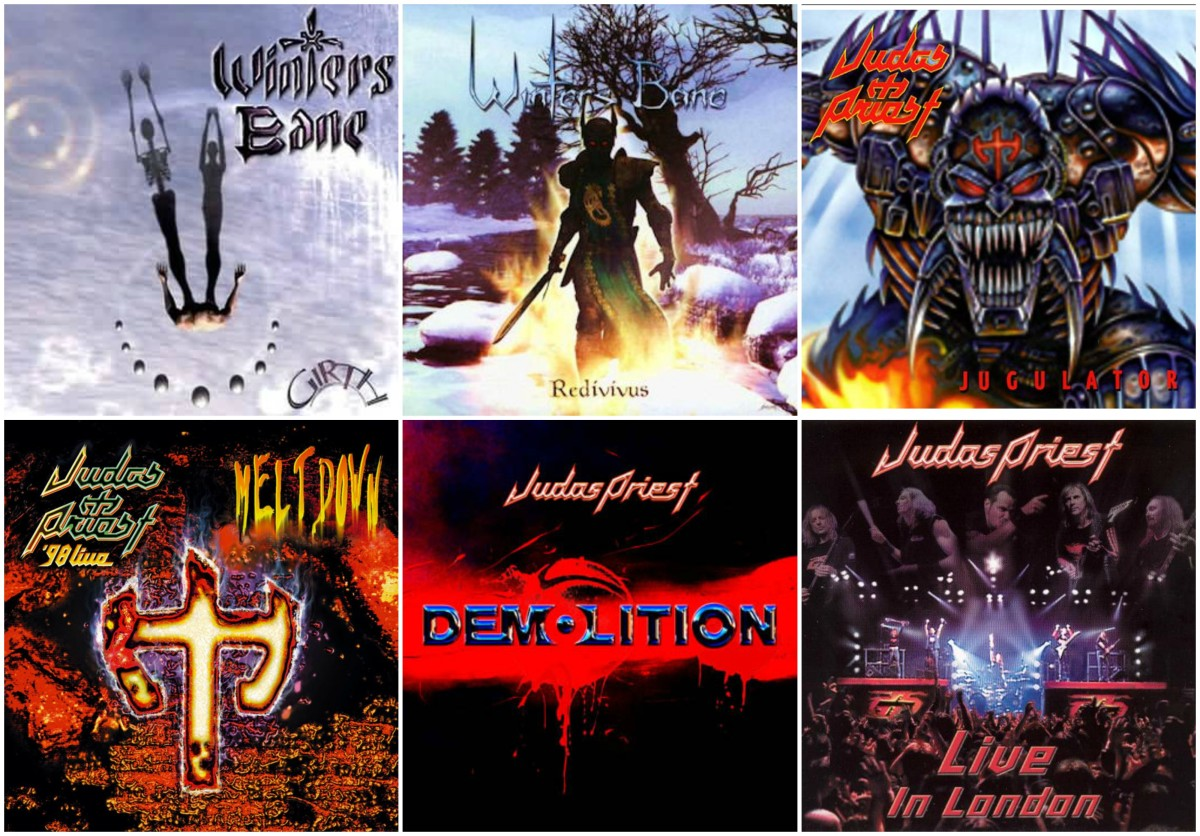 "Top: Winters Bane's ""Girth"" and ""Redivivus,"" Judas Priest's ""Jugulator"" / Bottom: Judas Priest's ""98 Live Meltdown,"" ""Demolition"" and ""Live In London"""