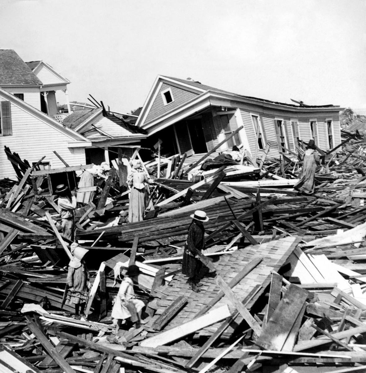 Galveston search the wreckage of the 1900 Hurricane,