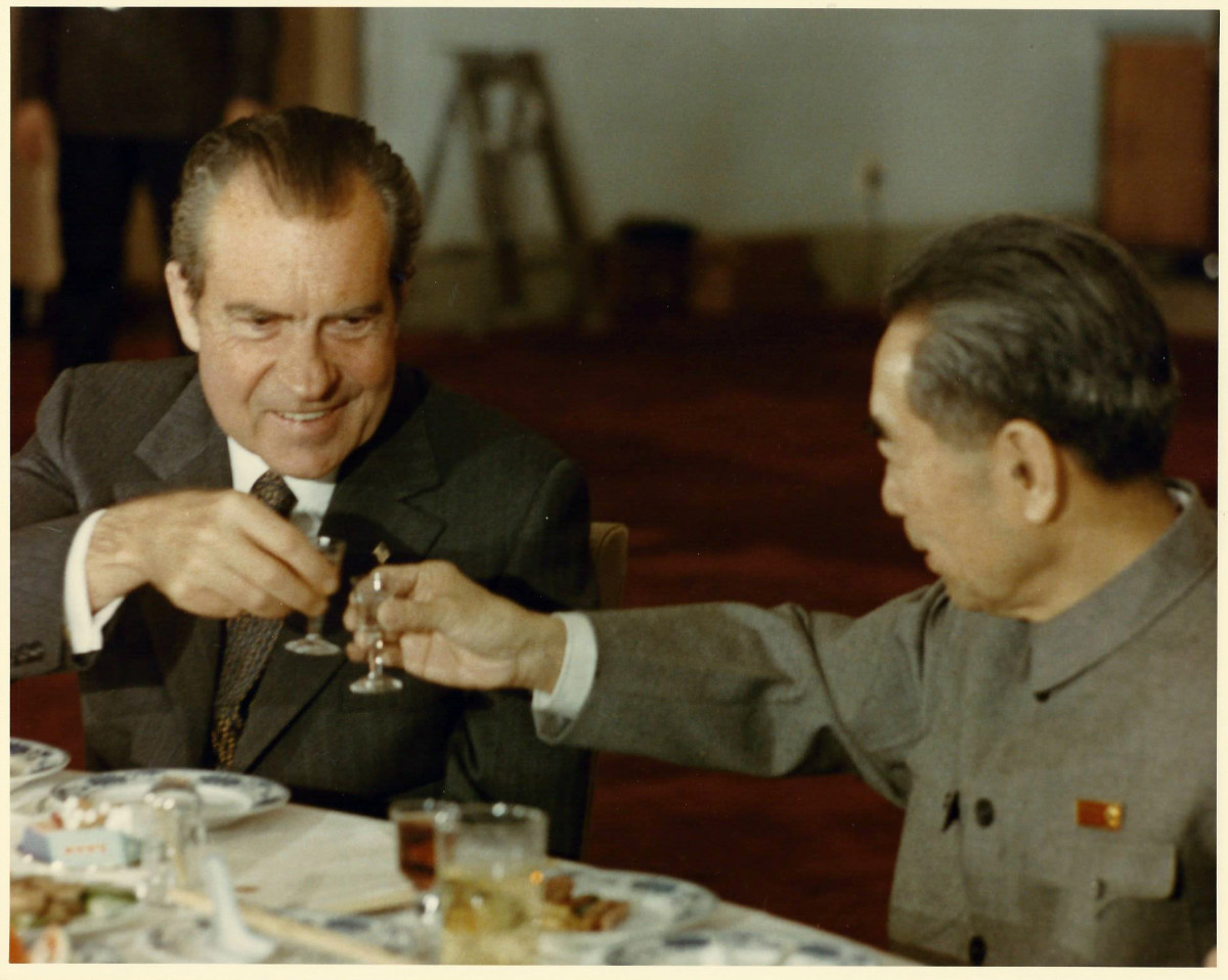 My husband's uncle was part of the White House Communications Office from Presidents Johnson through Bush. Pictured here is President Richard Nixon's 1972 visit to China, marking an important historical step in normalizing relations with the country.