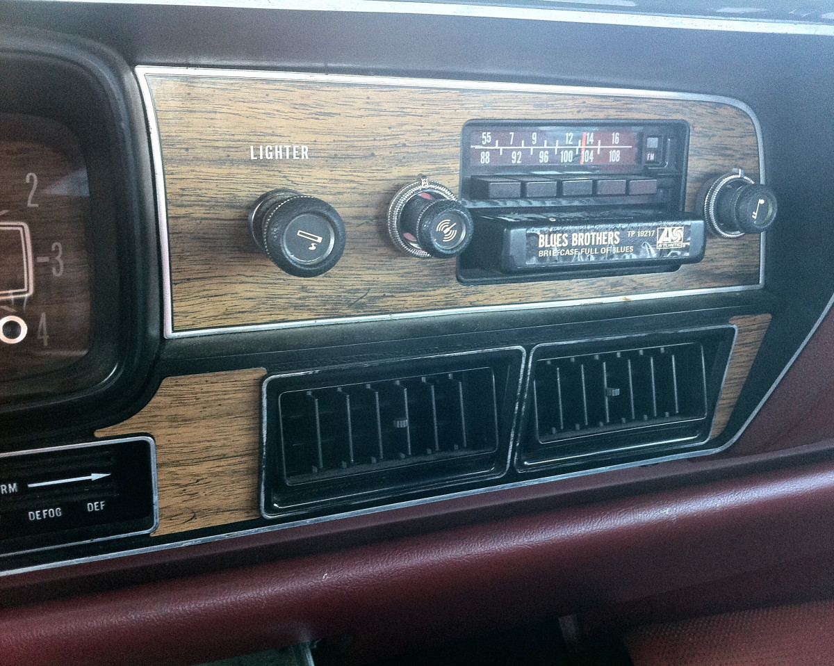 "Before the cassette tape, there was the 8-track tape. It was impossible to rewind.  This one appears in a 1978 American Motors Corporation Matador four-door sedan, shown here in the ""play"" position.  Groovy!"