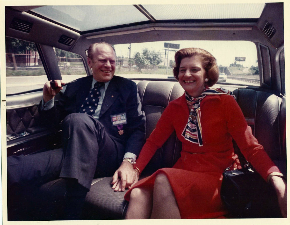 Following the resignation of President Richard Nixon, Gerald Ford became the 38th President of the United States.  He served from 1974-1977.  Also pictured here is his wife, First Lady Betty Ford.