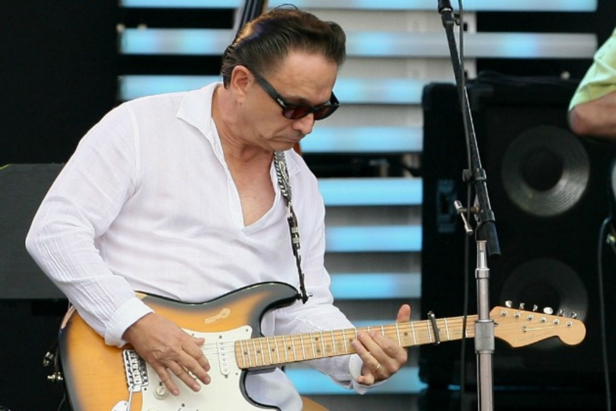 Texas blues man Jimmie Vaughan with one of his Fender Stratocasters