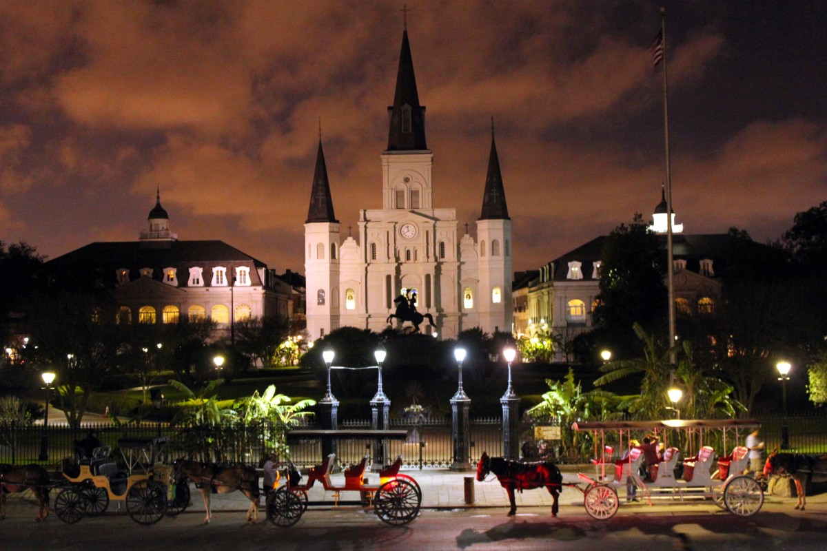 Jackson Square in New Orleans with Saint Louis Cathedral in the backdrop.  It is the oldest cathedral in North America, founded in 1720.