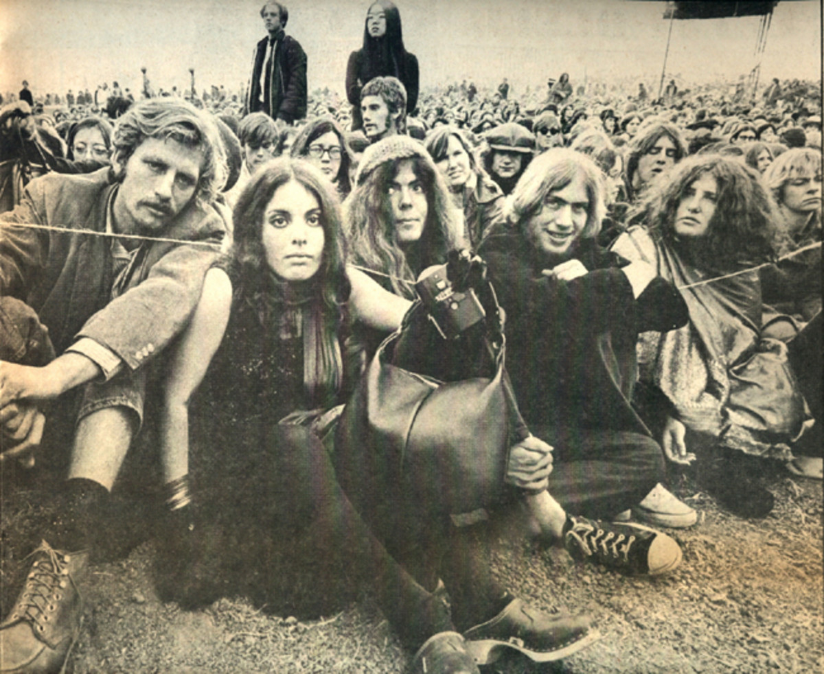 Concert goers attending Altamont in December 1969