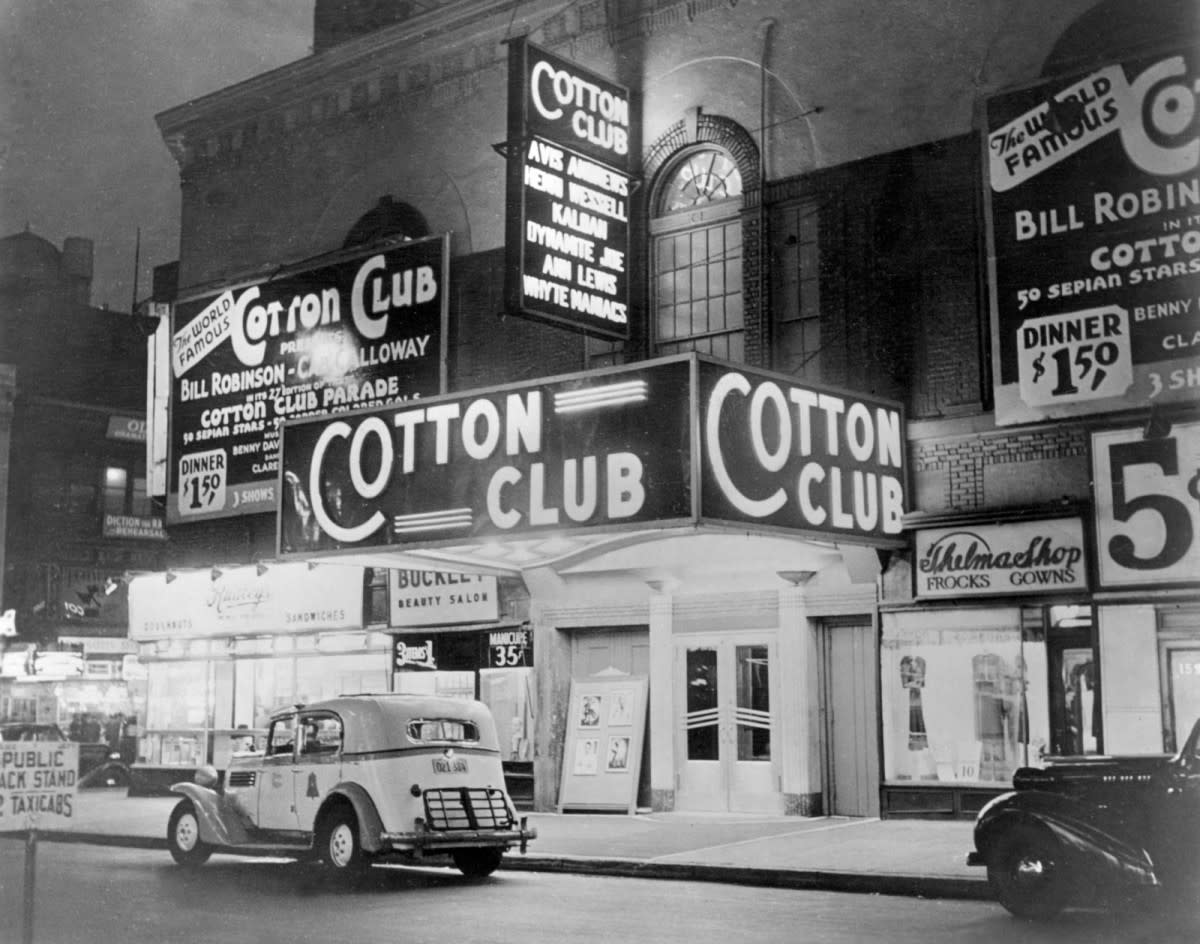 The famous Cotton Club located in Harlem, New York. The building has seen its days, including a fire, were the building had to be renovated. You can still peek in for a performance today.