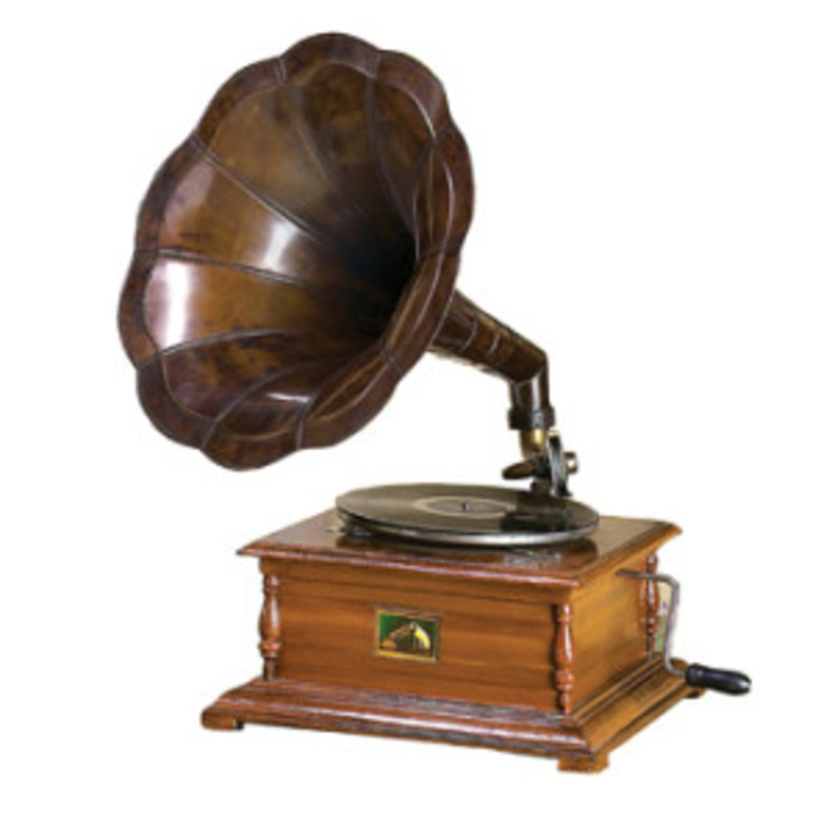 You can see the mechanically turned knob. This is the most common image of the gramophone used by many Americans. Thomas Edison perfected it.