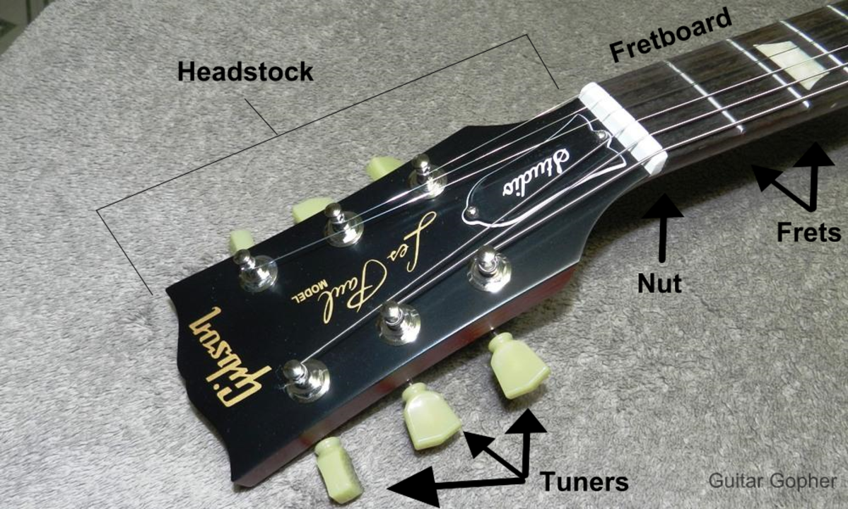 Parts of guitar headstock assembly