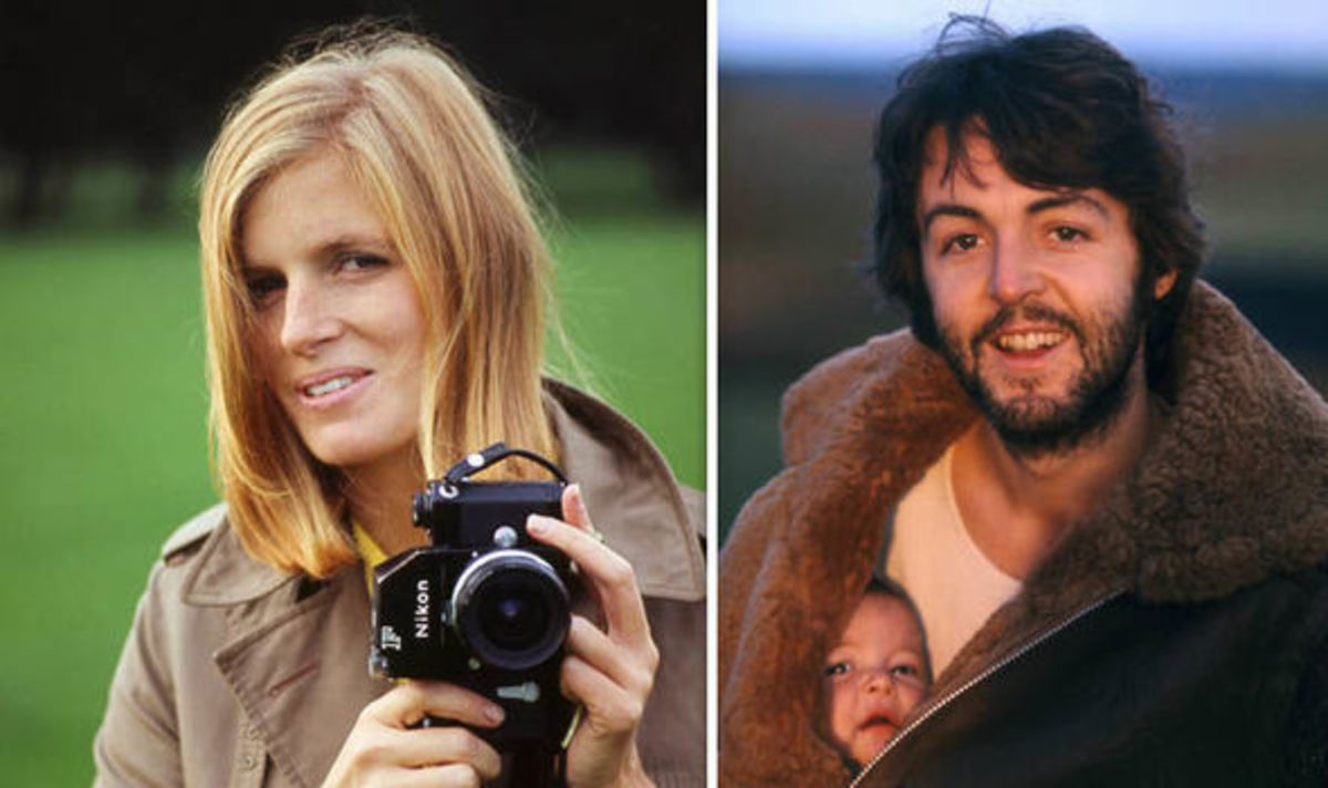 "Linda McCartney (left) and the album cover for ""McCartney"" (right)"