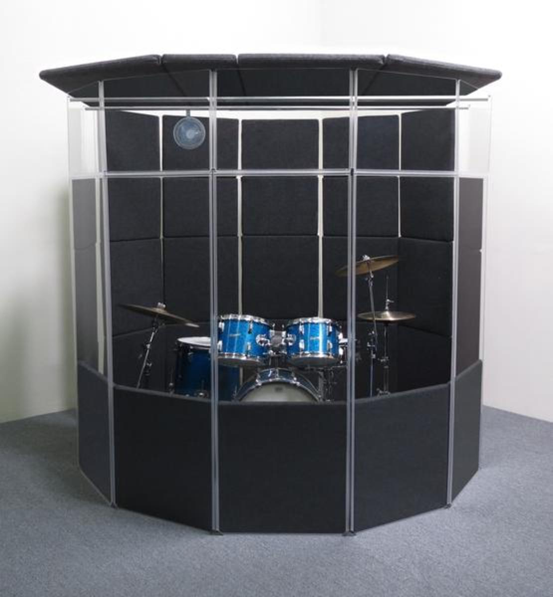 The next step down from a professionally built studio is an isolation booth like this drum booth, but even these are prohibitively expensive for most home studios.