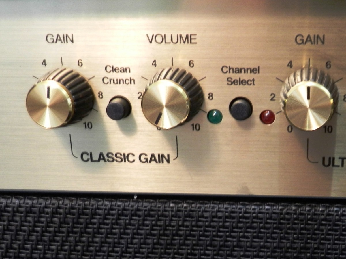 Guitar amps have volume knobs. That's good for beginners and the people around them!
