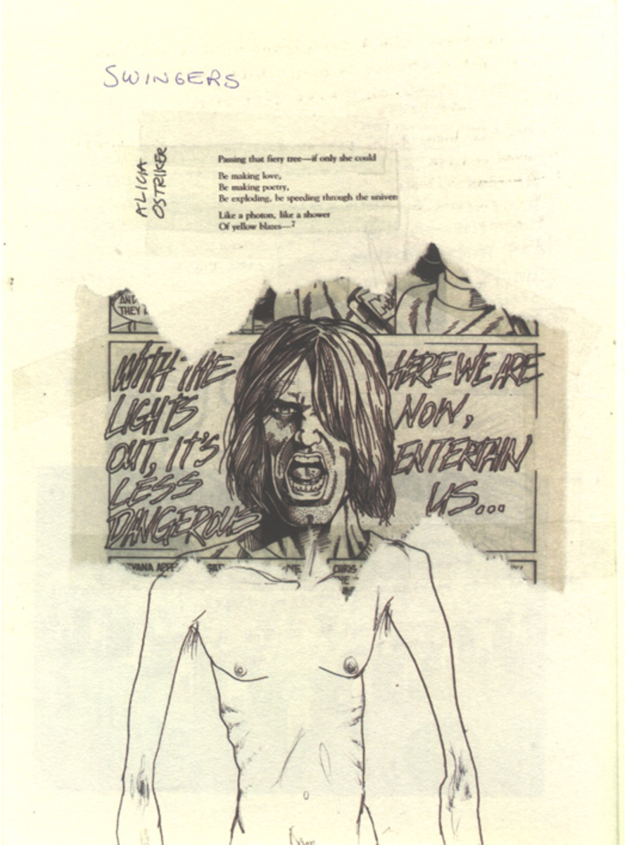 A collage that Cobain had created of himself featuring a poem by Alicia Ostriker and a cut-out from a NIRVANA comic. Featured in Journals.