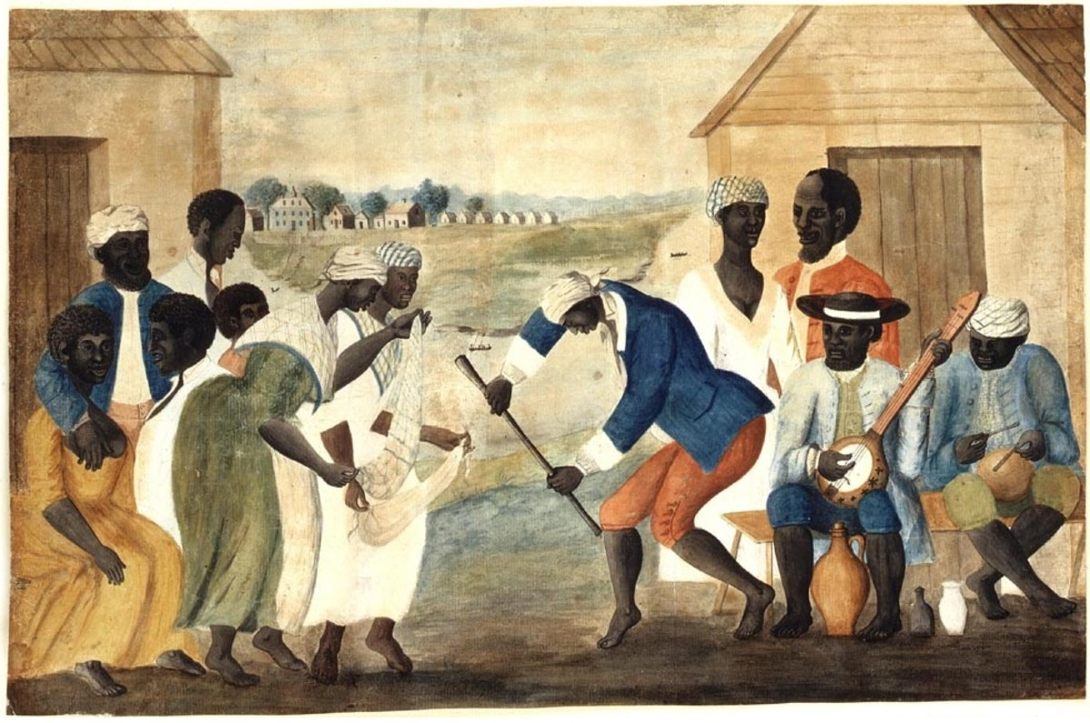 The Old Plantation (anonymous folk painting). Depicts African-American slaves dancing to banjo and percussion - public domain
