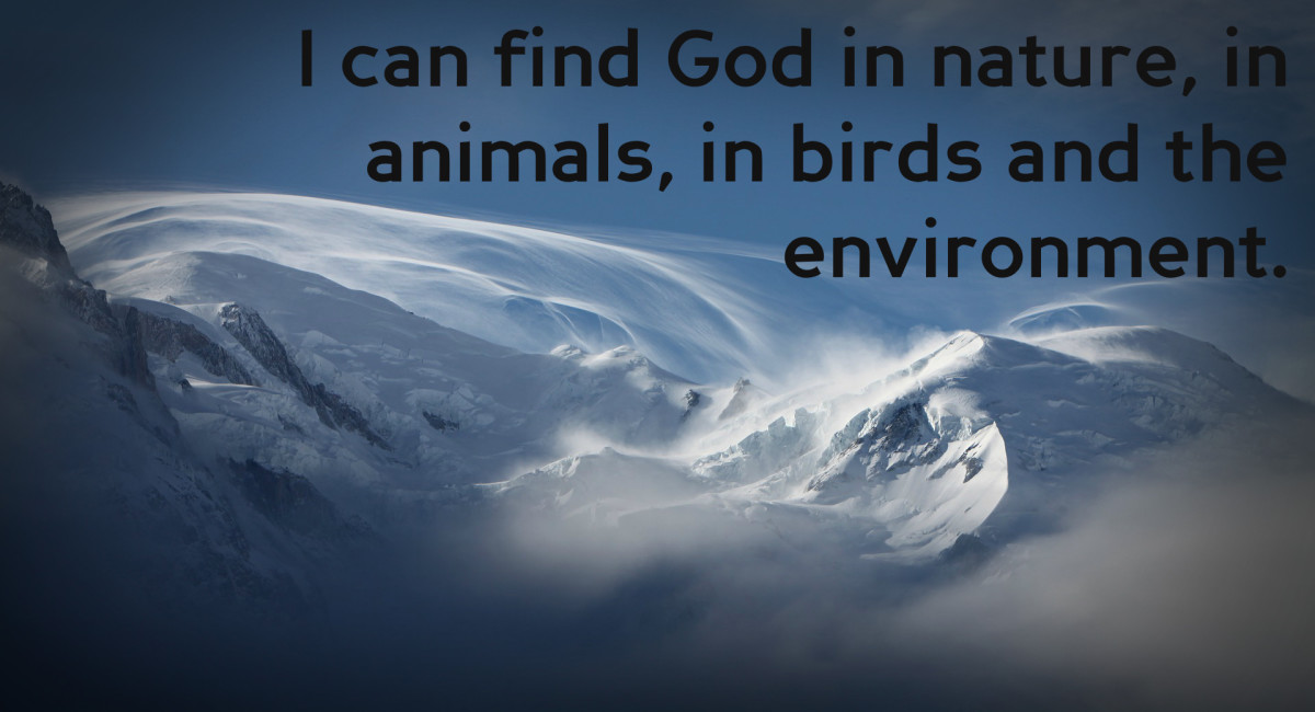 """I can find God in nature, in animals, in birds and the environment."" - Pat Buckley, Canadian socialite"