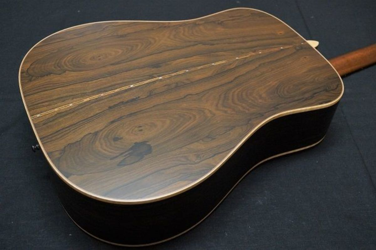 Persimmon, also referred to as Ziricote, back and sides of the Takamine 40th Anniversary guitar.