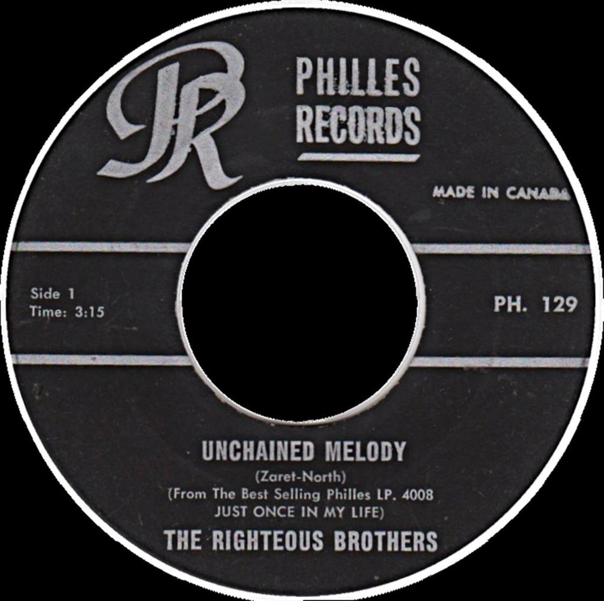 "An old 45 recording of ""Unchained Melody"" by The Righteous Brothers"
