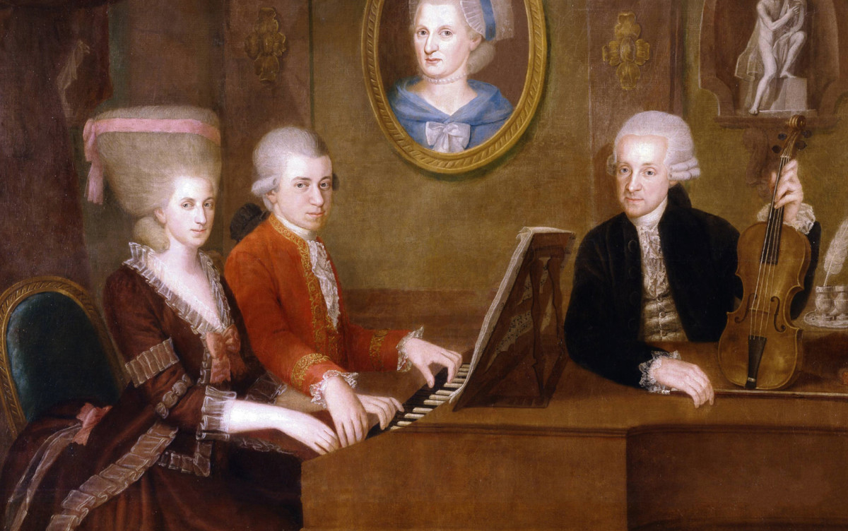 Wolfgang Amadeus Mozart 1756-1791 Painting c1780 of Mozart and his sister Nanerl at the piano with their father Leopold looking on.