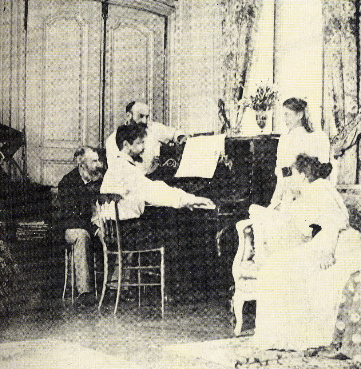 Claude Debussy 1862-1918 Photo of Debussy in 1893 at the piano at his friend's house, the composer Ernest Chausson .