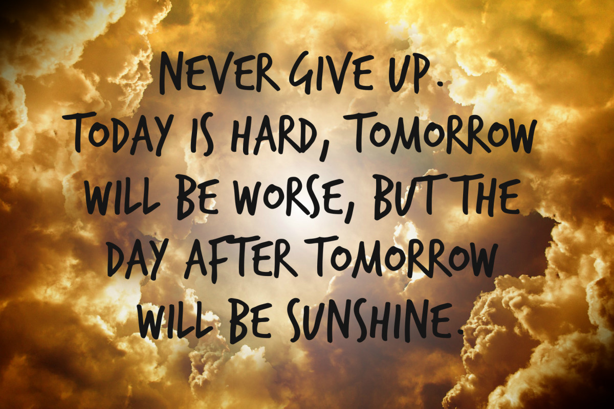 """Never give up. Today is hard, tomorrow will be worse, but the day after tomorrow will be sunshine."" - Jack Ma, Chinese business magnate"
